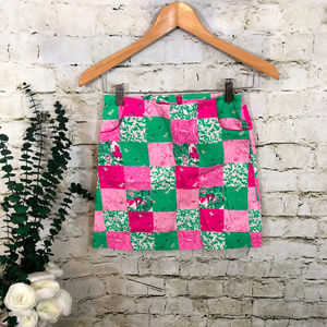 Lilly Pulitzer Girls Pink Green Patchwork Skirt 10